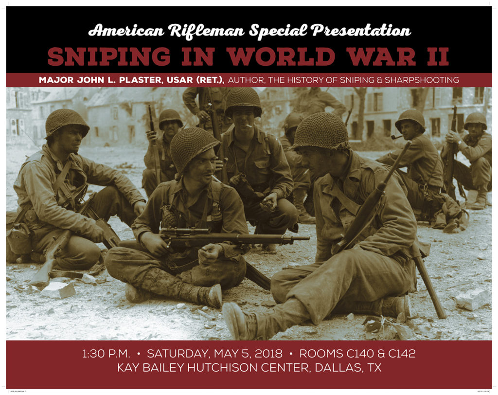 Sniping in WWII by Major John Plaster seminar for the NRA Convention 2018